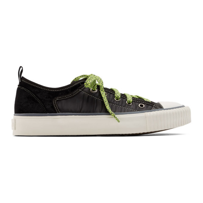 Photo: Lanvin Black Velvet and Nylon Low-Top Sneakers
