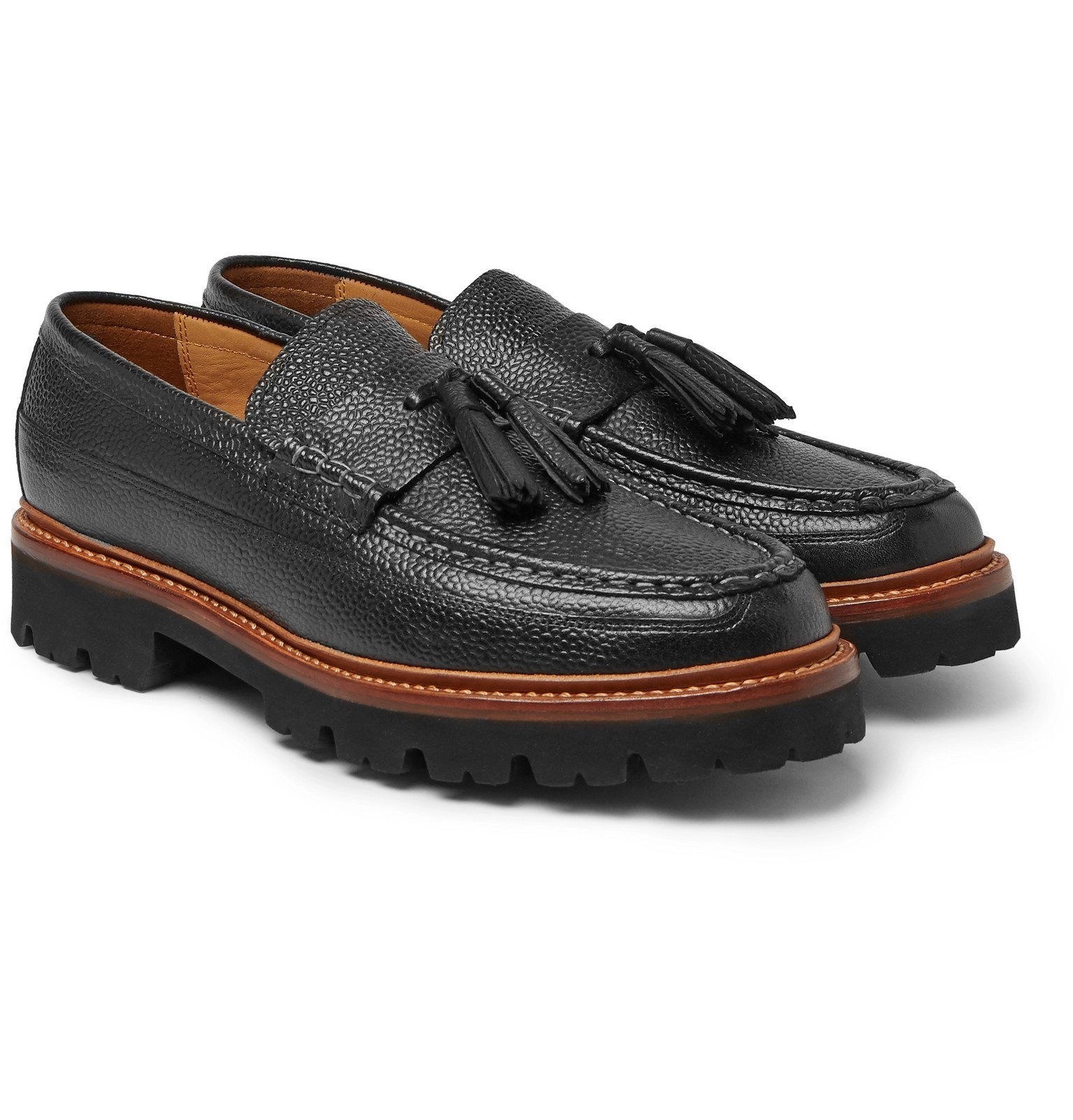 Photo: Grenson - Booker Pebble-Grain Leather Tasselled Loafers - Black