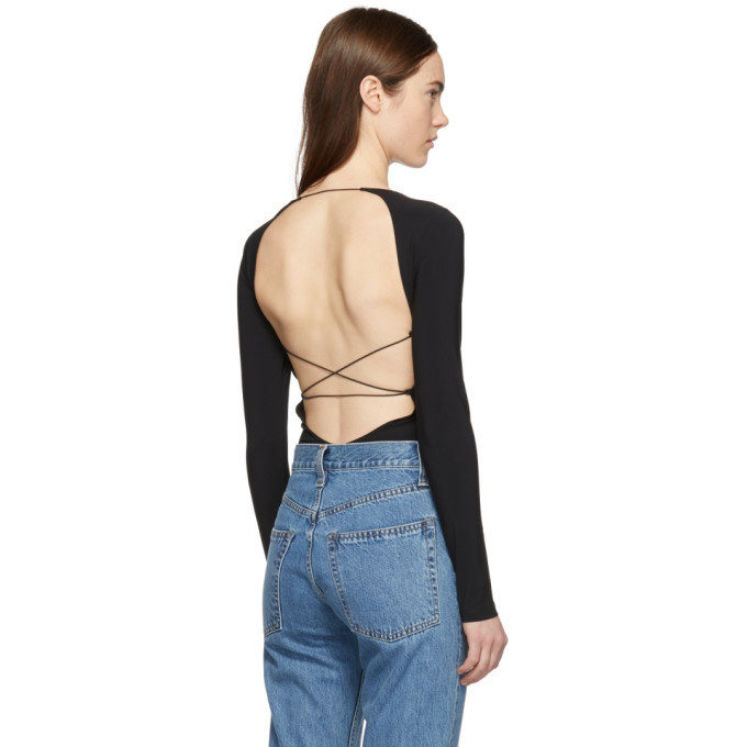 alexanderwang.t Black Swim Jersey Criss-Crossing Bodysuit