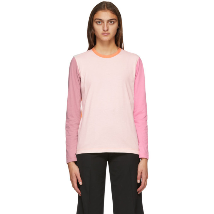 Photo: Comme des Garcons Shirt Pink and Orange Colorblock Logo Long Sleeve T-Shirt