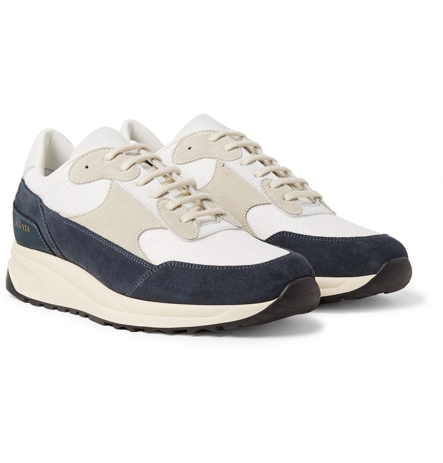 Photo: Common Projects - Track Classic Nubuck, Suede and Mesh Sneakers - Blue