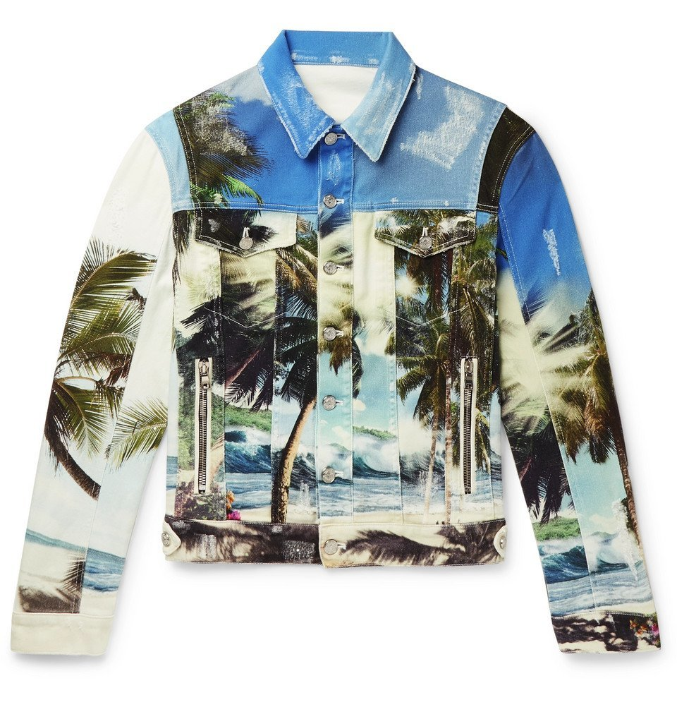 Photo: Balmain - Printed Distressed Denim Jacket - Blue