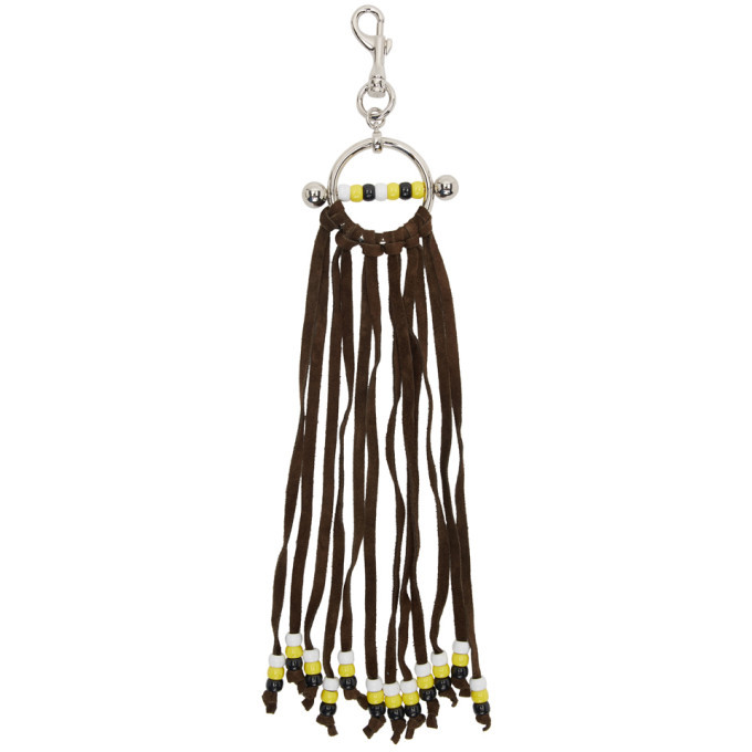 Photo: JW Anderson Silver and Brown Fringe Disc Keychain