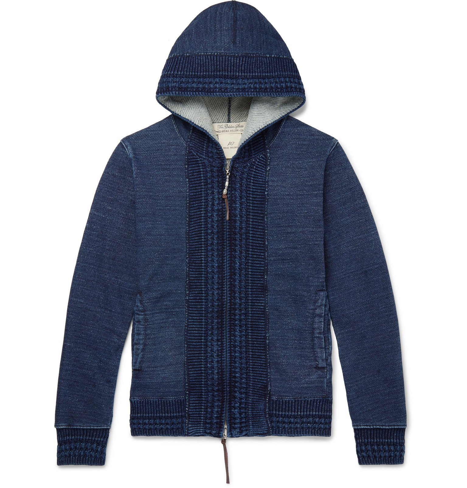 Photo: Remi Relief - Slim-Fit Ribbed Loopback Cotton-Jersey Zip-Up Hoodie - Blue