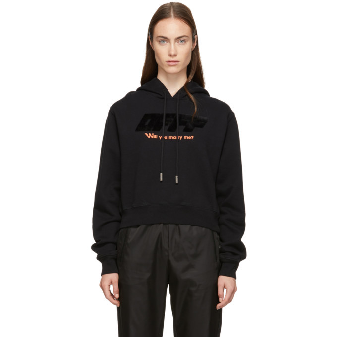 Photo: Off-White Black Modern Obstacles Crop Hoodie
