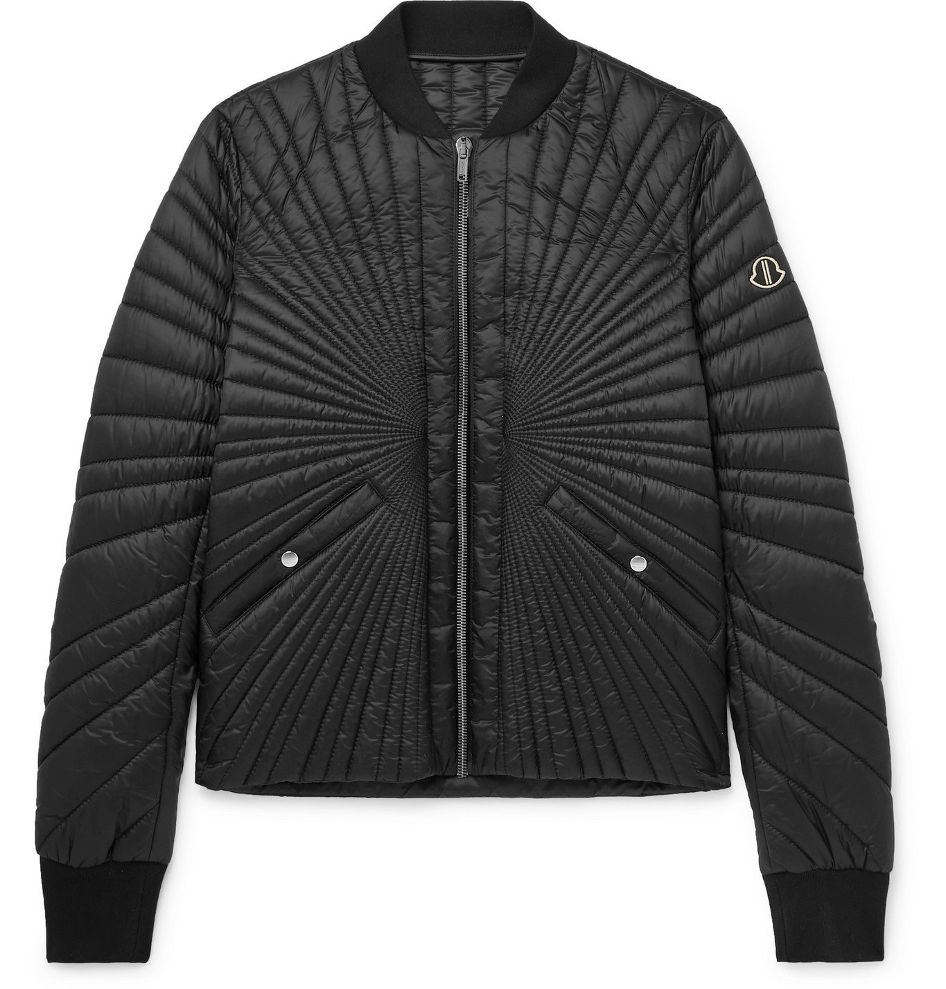 Photo: Rick Owens - Moncler Angle Logo-Appliquéd Quilted Shell Down Bomber Jacket - Black