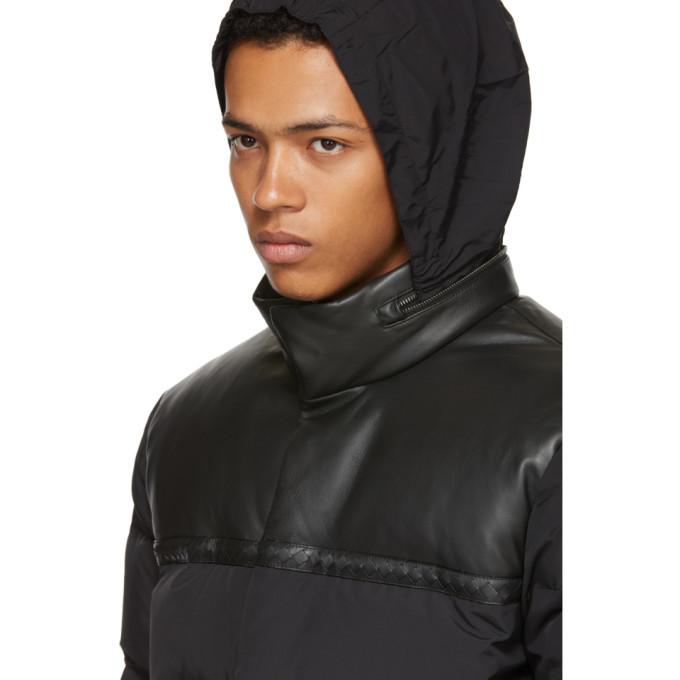 Bottega Veneta Black Nylon and Leather Down Parka