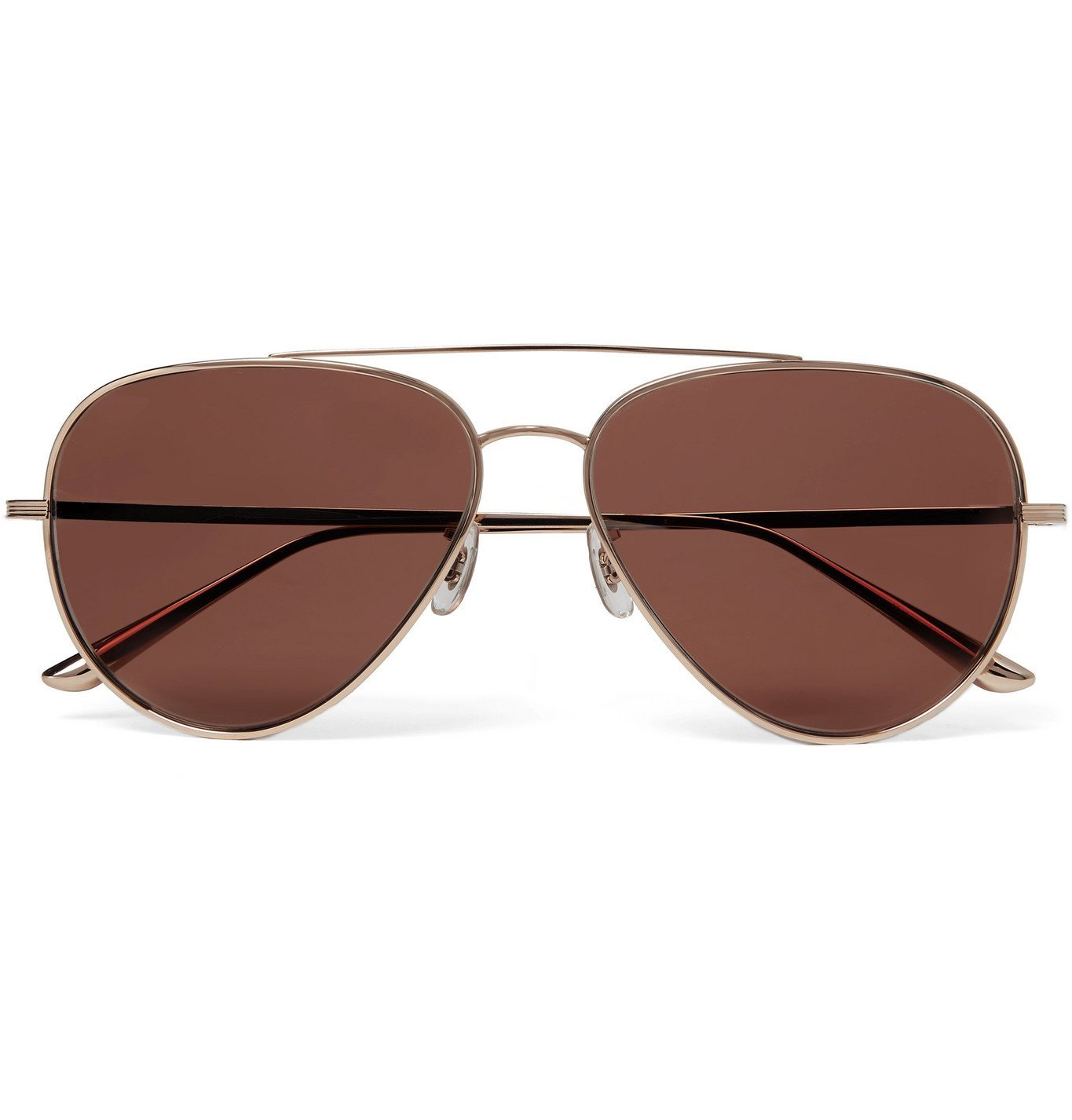 Photo: THE ROW - Oliver Peoples Casse Aviator-Style Gold-Tone Titanium Polarised Sunglasses - Gold