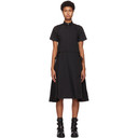Sacai Black Pleated Poplin Shirt Dress