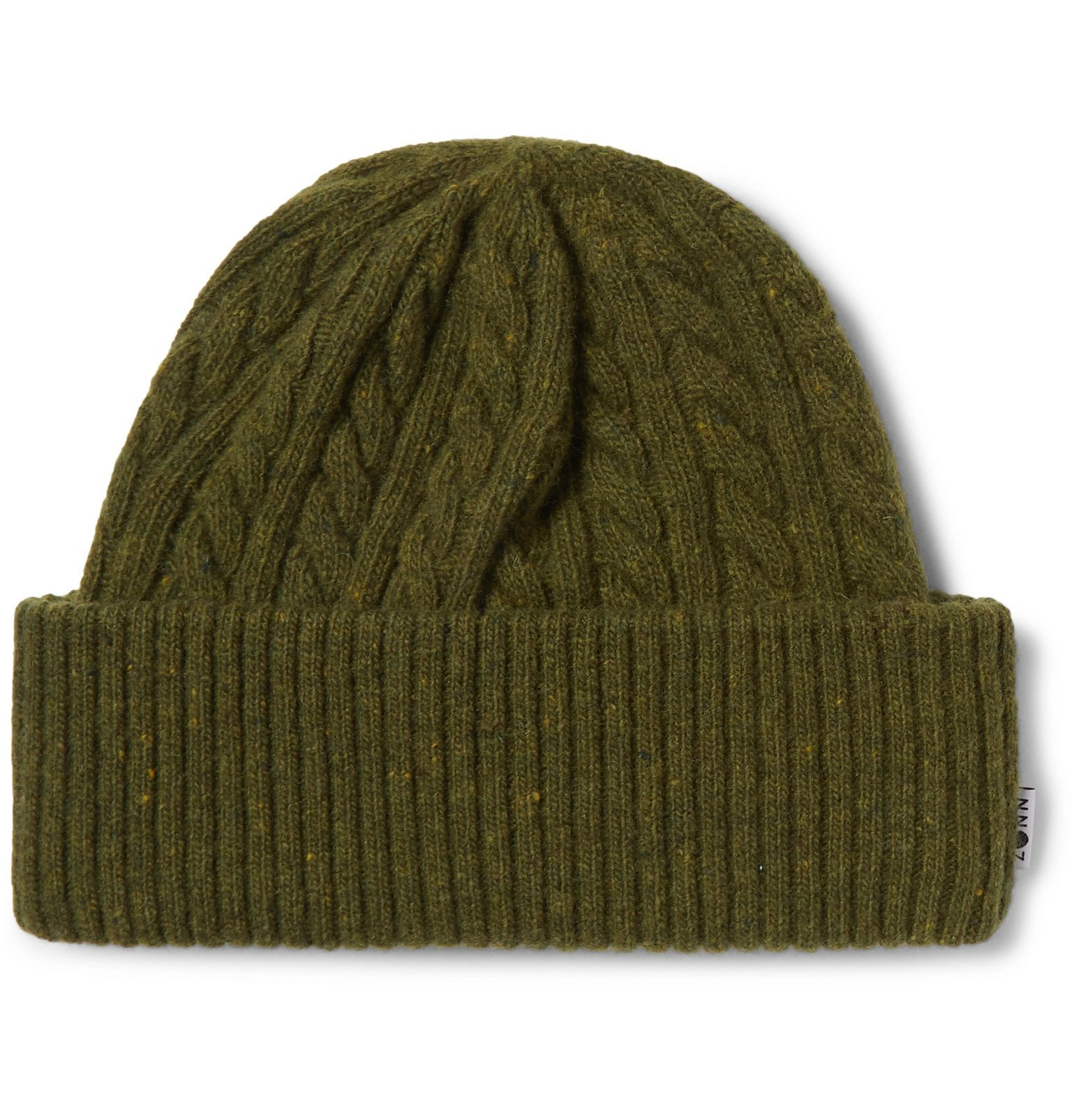 Photo: NN07 - Cable-Knit Wool-Blend Beanie - Green