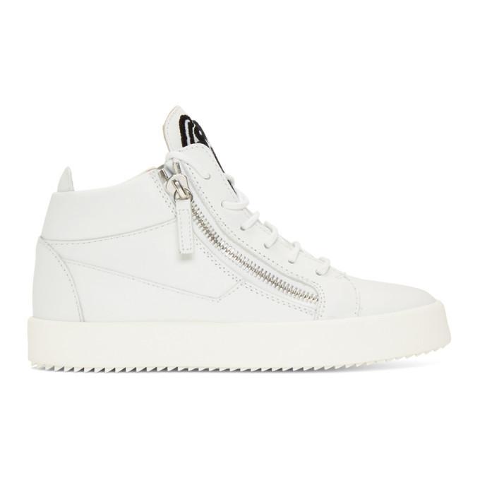 Photo: Giuseppe Zanotti White Big Logo May London High-Top Sneakers