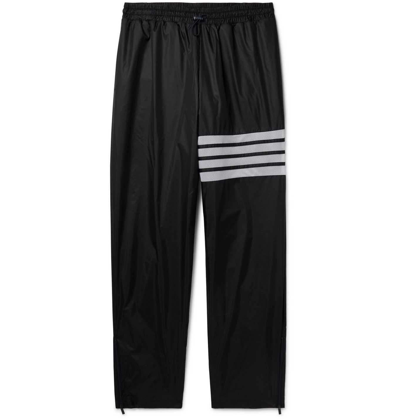 Photo: THOM BROWNE - Tapered Striped Mesh-Trimmed Nylon-Ripstop Track Pants - Black