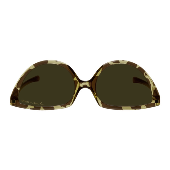 Martine Rose Brown and Tan Mykita Edition Leopard SOS Sunglasses