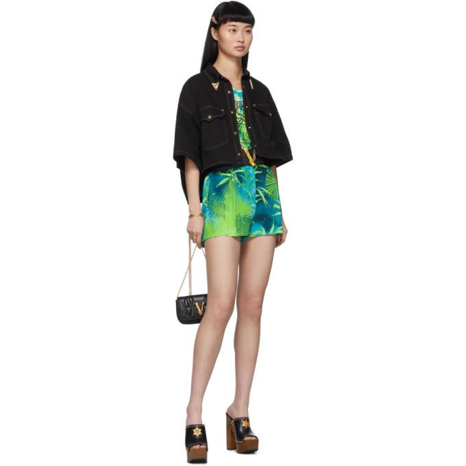 Versace Green Jungle Print Shorts