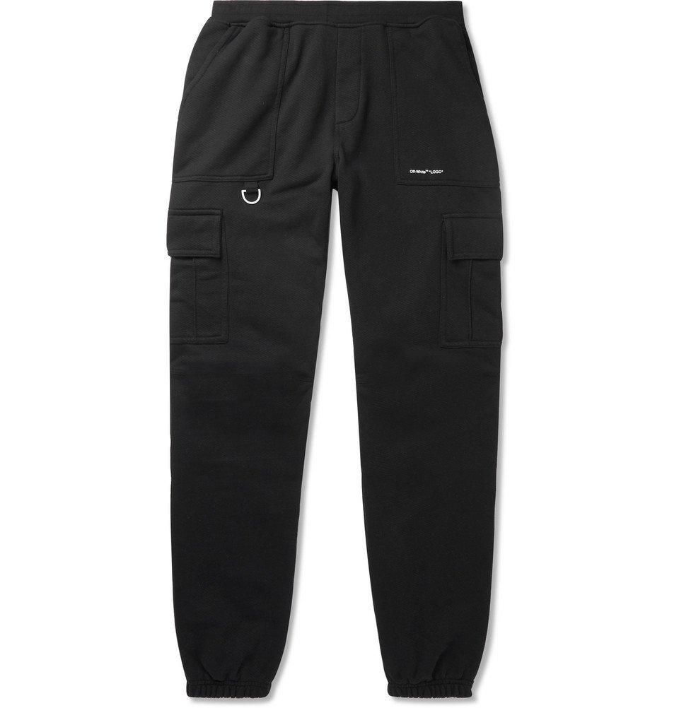 Photo: Off-White - Logo-Print Cotton-Jersey Cargo Sweatpants - Black