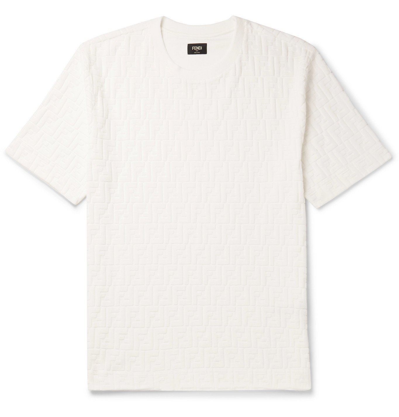 Photo: Fendi - Logo-Flocked Cotton-Blend Jersey T-Shirt - White