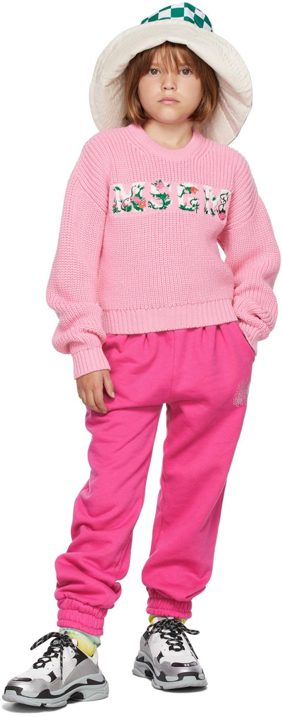 Photo: MSGM Kids Kids Pink Floral Logo Sweater