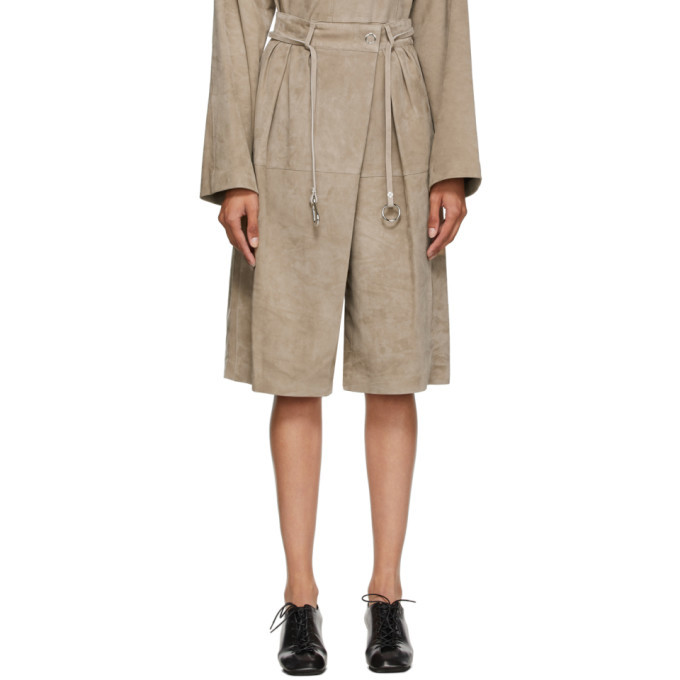 Photo: Lemaire Beige Suede Shorts