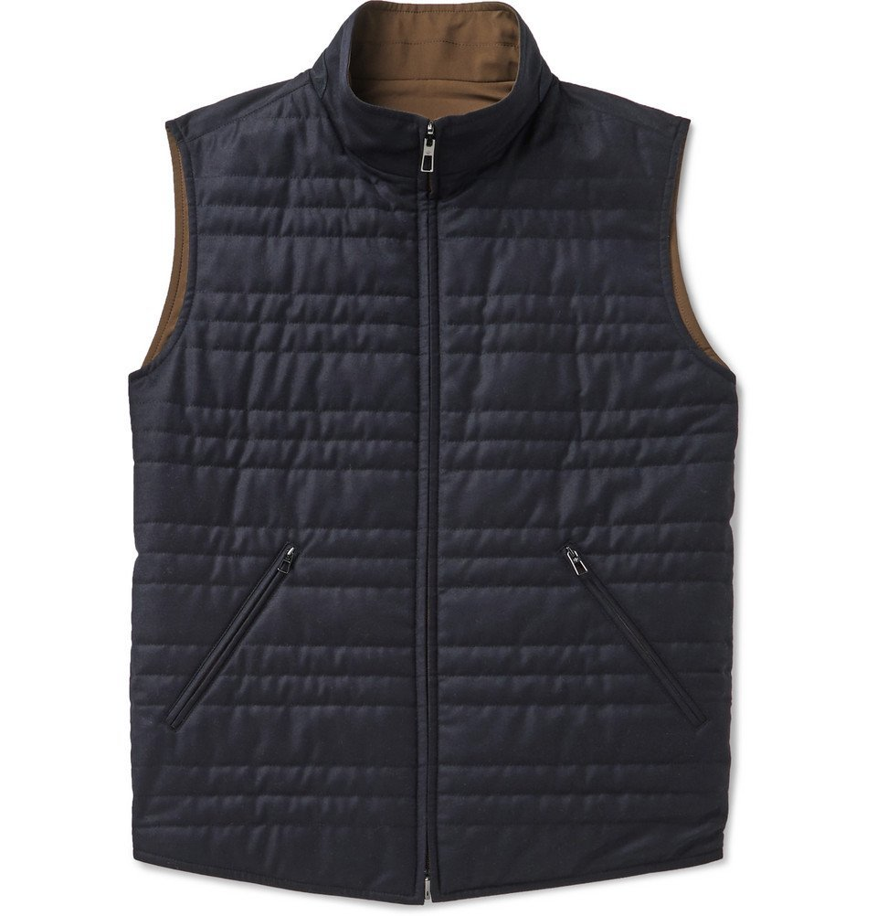 Photo: Loro Piana - Marlin Reversible Quilted Rain System Microfibre and Virgin Wool-Blend Gilet - Blue