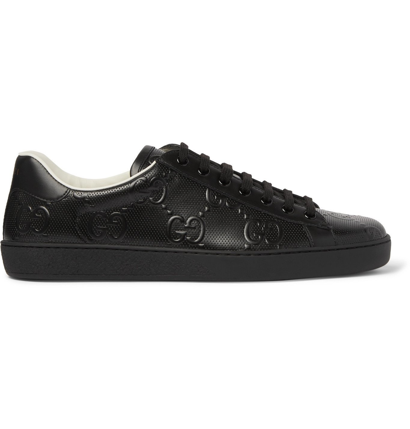 Photo: Gucci - Ace Logo-Embossed Perforated Leather Sneakers - Black