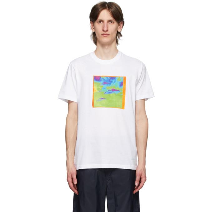 Photo: PS by Paul Smith White Spaceship Print T-Shirt