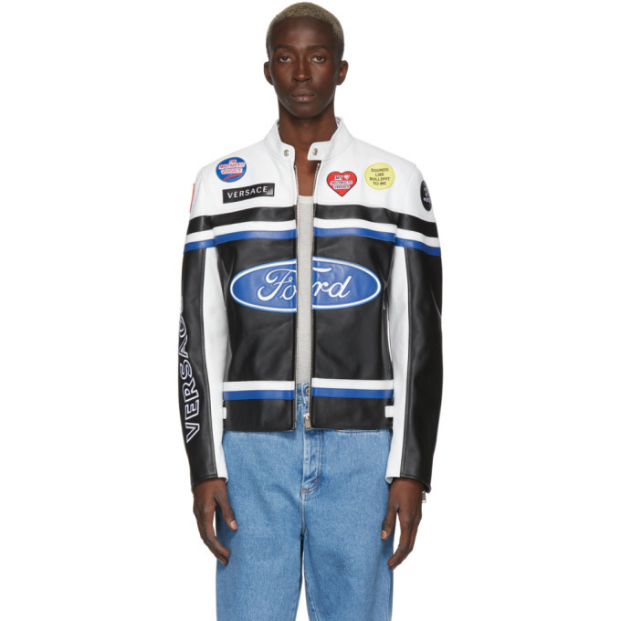 Photo: Versace White and Black Ford Edition Patchwork Logo Jacket