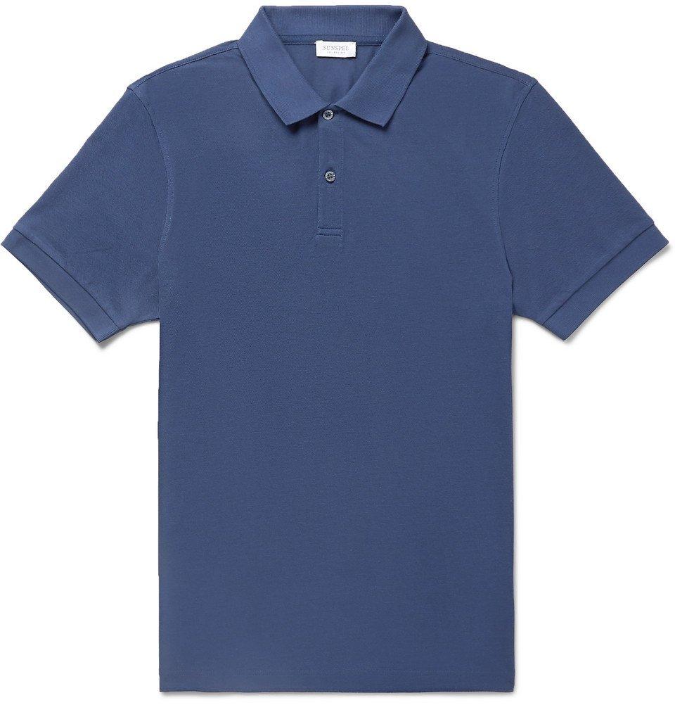 Sunspel - Pima Cotton-Piqué Polo Shirt - Men - Blue