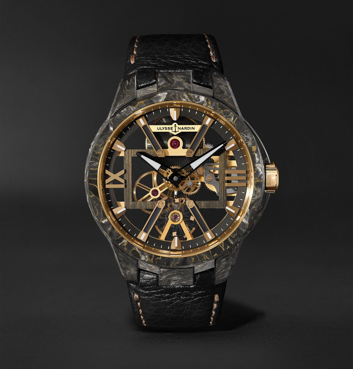 Photo: Ulysse Nardin - Skeleton X Hand-Wound 43mm Carbonium Gold and Full-Grain Leather Watch - Black