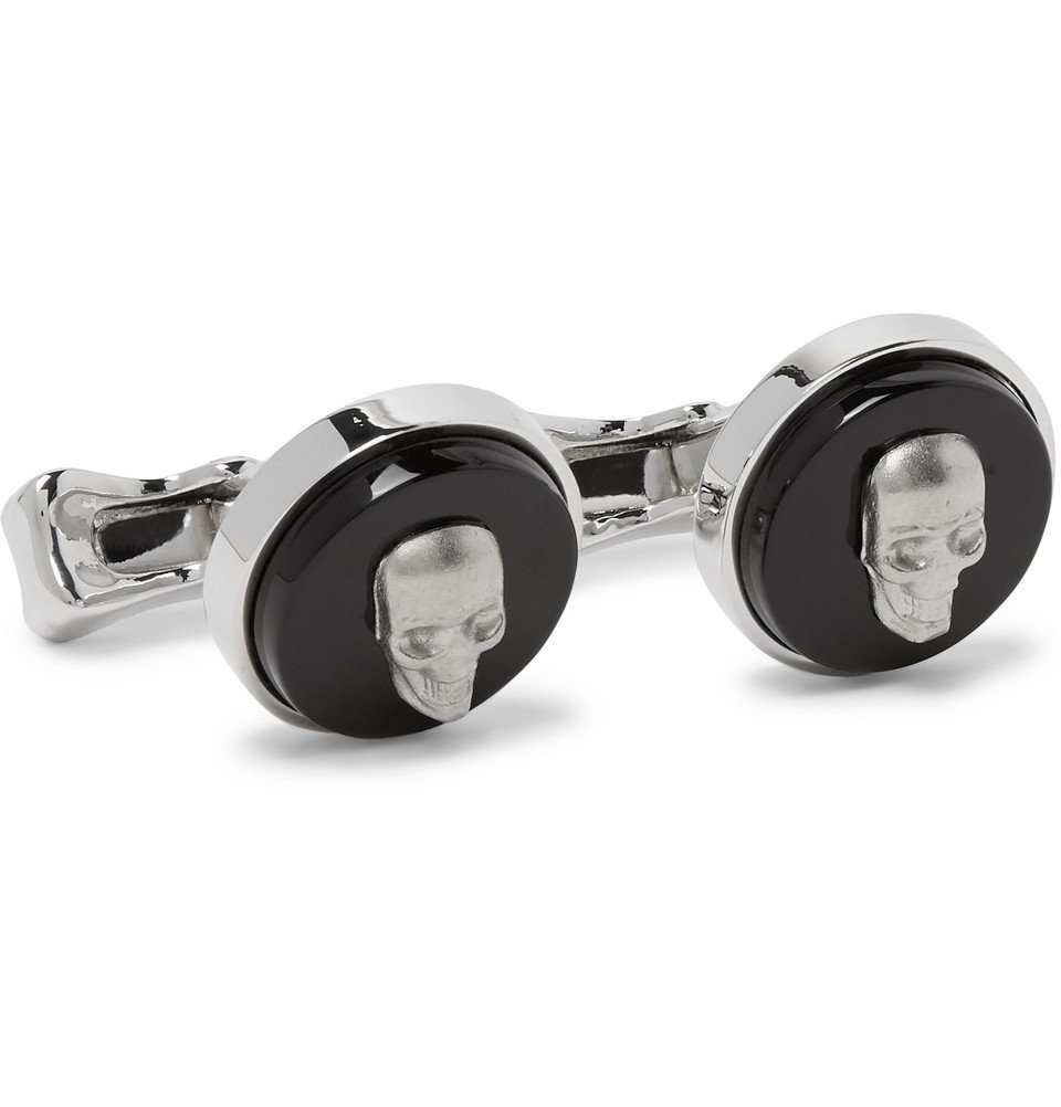 Photo: Alexander McQueen - Skull Silver-Tone and Enamel Cufflinks - Silver