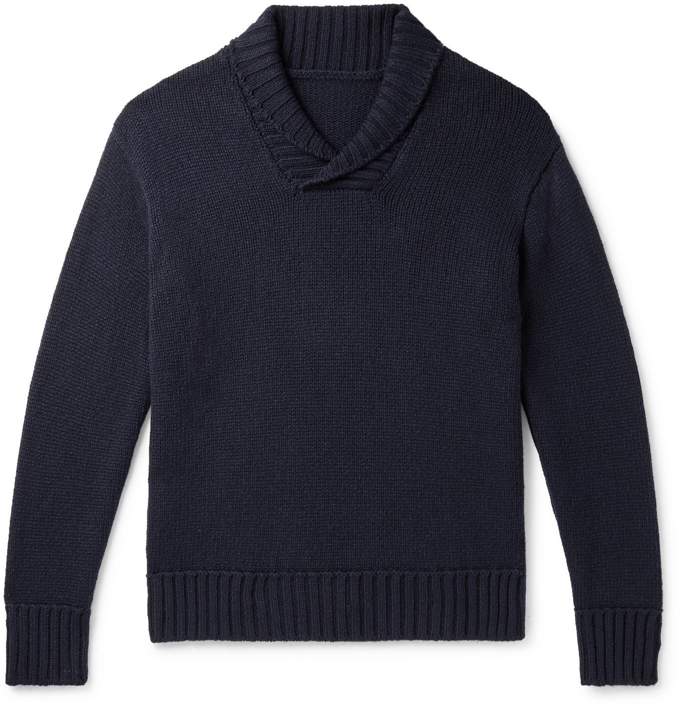 Photo: Anderson & Sheppard - Slim-Fit Shawl-Collar Cashmere Sweater - Blue