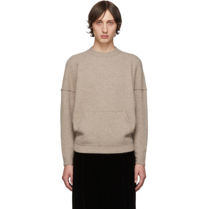 Photo: Giorgio Armani Tan Cashmere and Silk Kangaroo Pocket Sweater