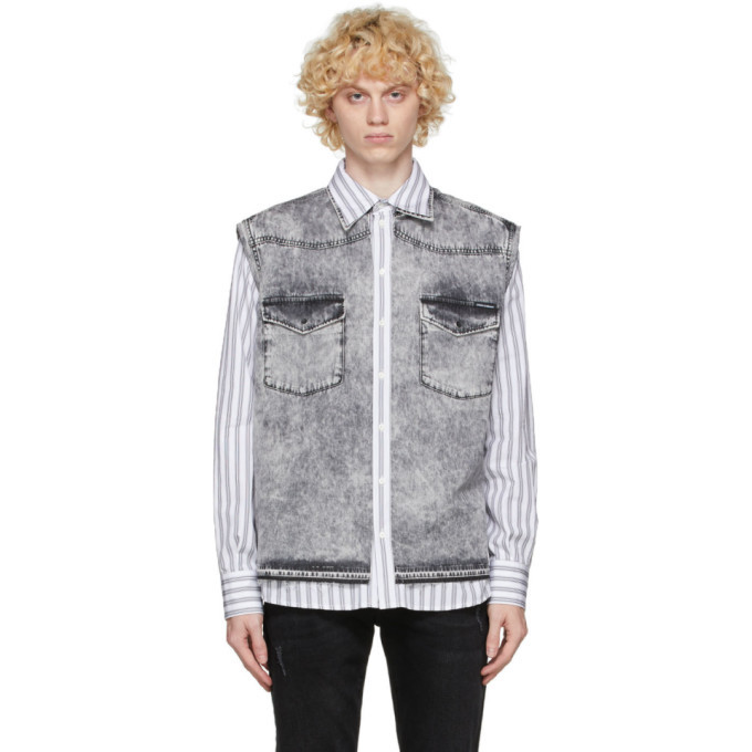 Photo: Dolce and Gabbana White and Grey Denim Vest Shirt