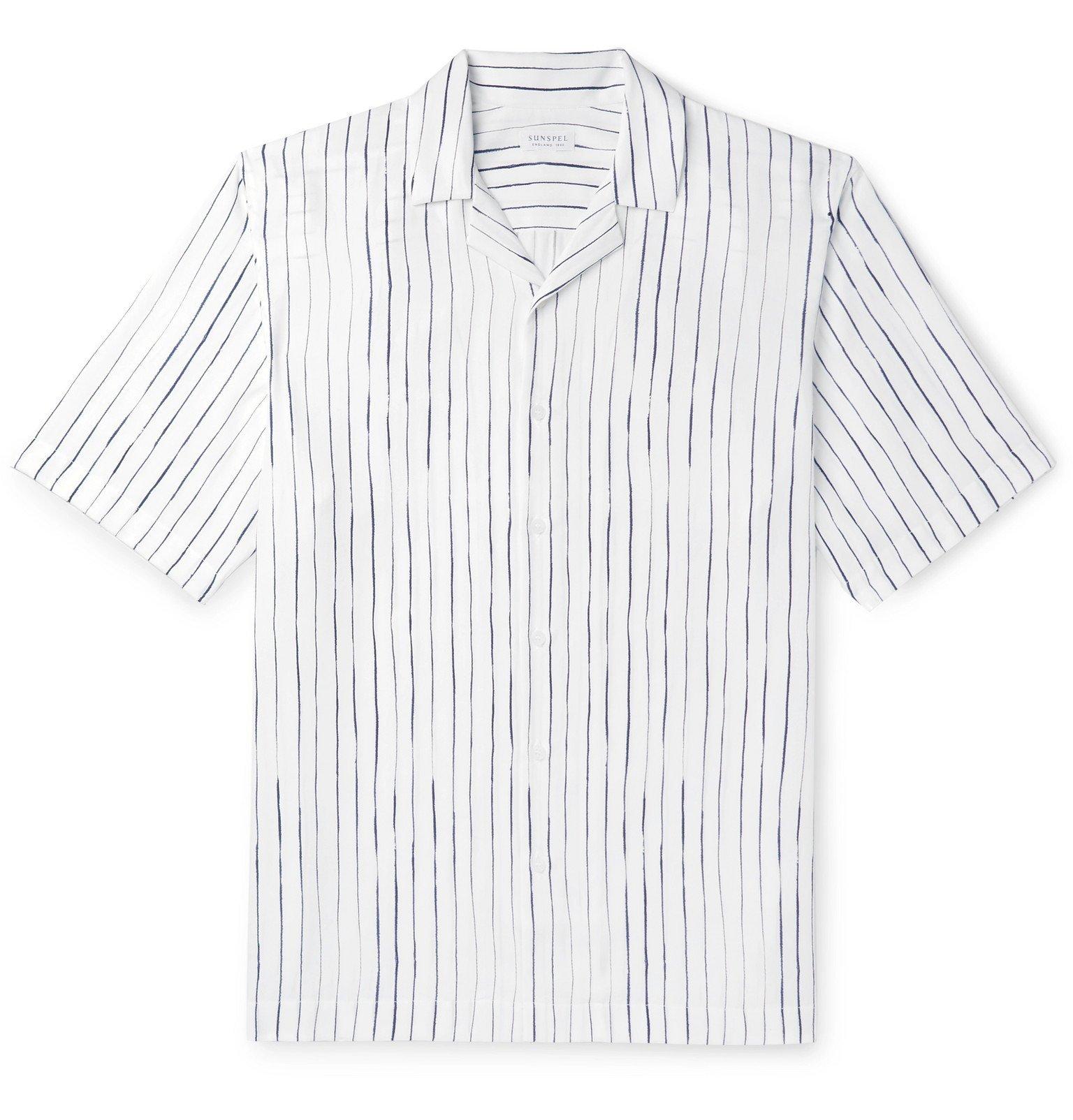 Sunspel - Camp-Collar Striped Lyocell Shirt - White