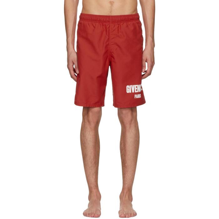 903047dd97710a Givenchy Red Logo Swim Shorts Givenchy