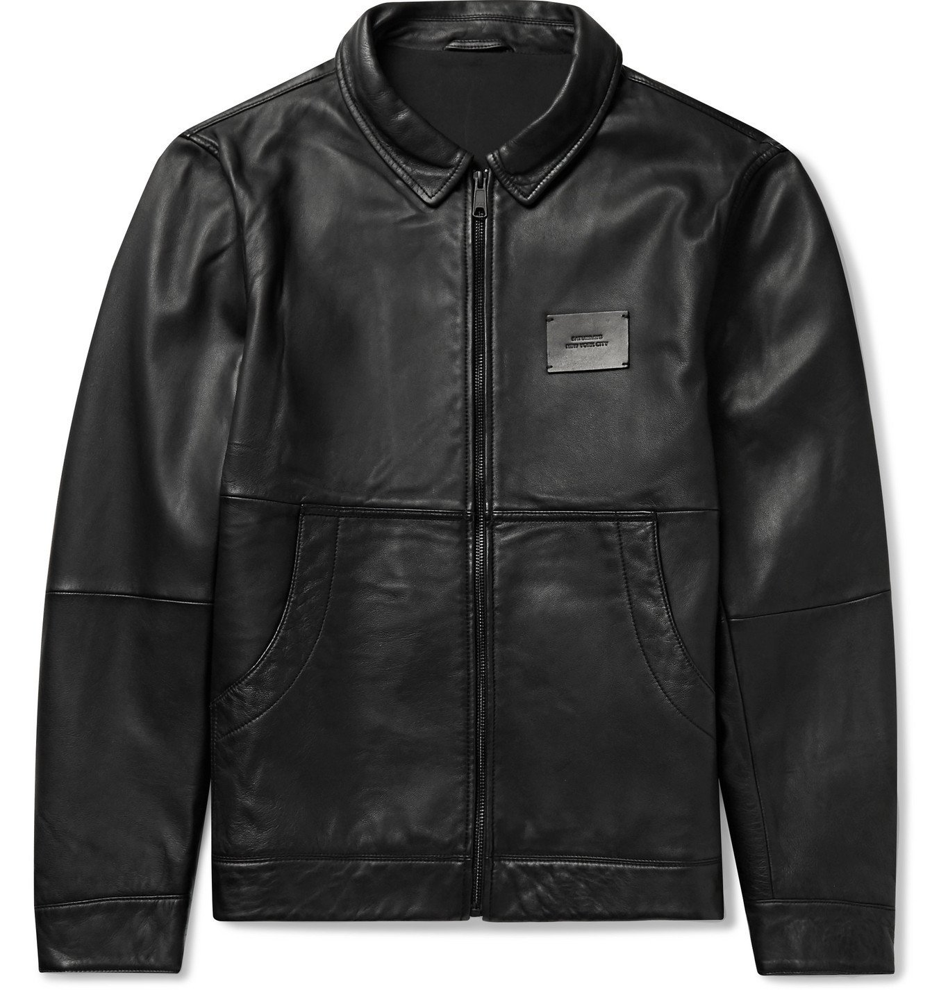 Photo: Saturdays NYC - Logo-Appliquéd Leather Harrington Jacket - Black