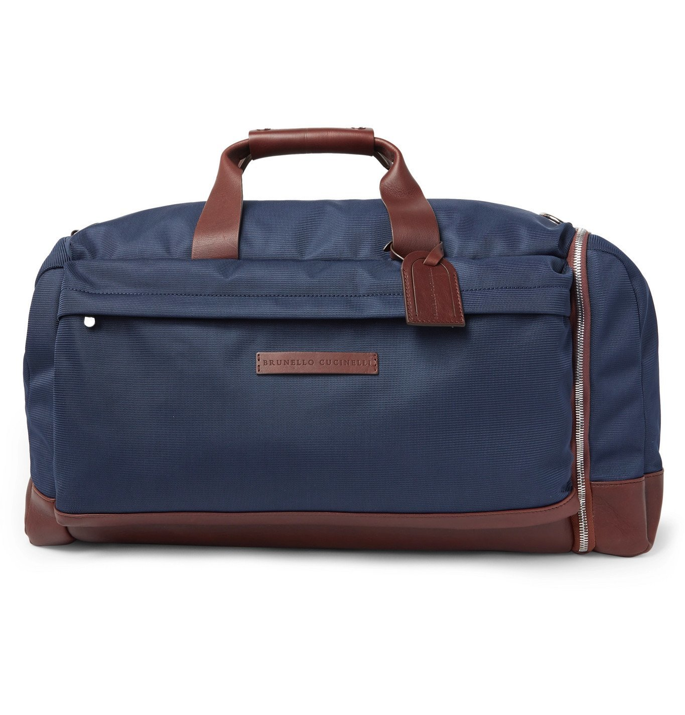 Photo: Brunello Cucinelli - Leather-Trimmed Nylon Holdall - Blue