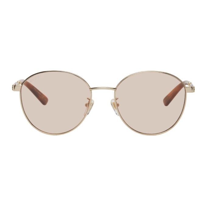 Photo: Gucci Gold and Pink GG0853SK Sunglasses