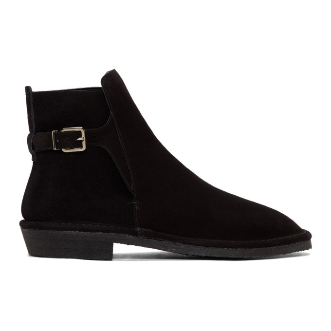 Photo: Robert Clergerie Black Suede Buckle Boots