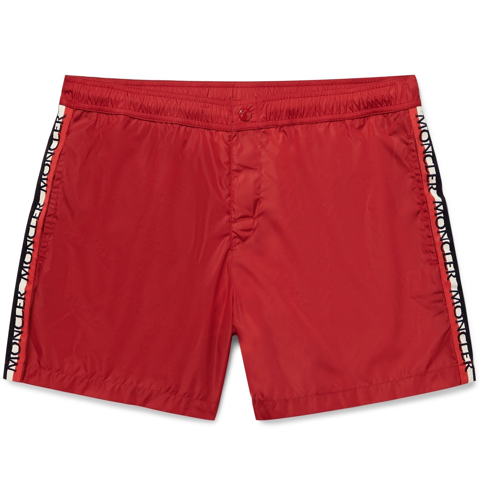 Photo: Moncler - Grosgrain-Trimmed Swim Shorts - Red