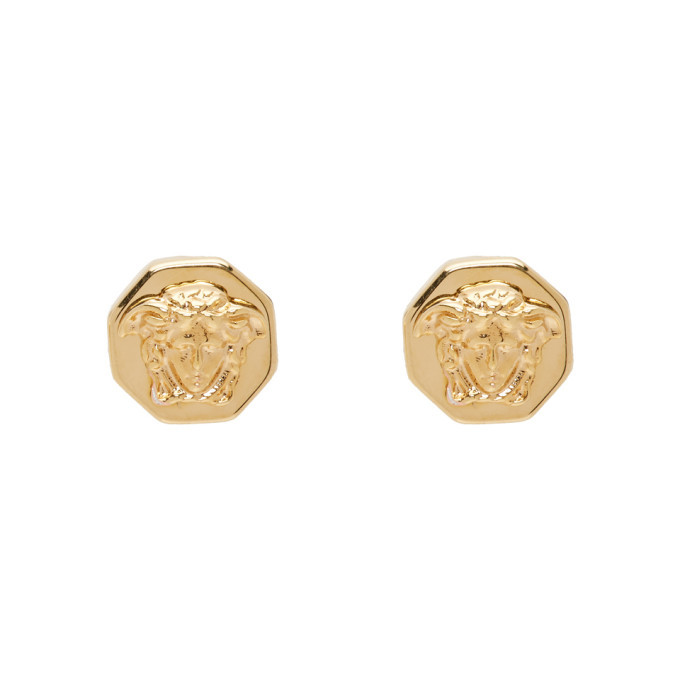 Photo: Versace Gold Octagonal Medusa Stud Earrings
