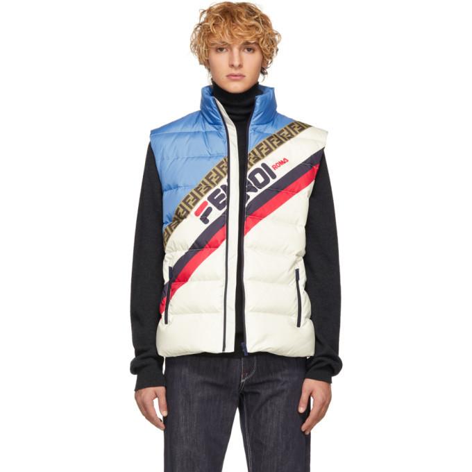 Photo: Fendi White Down Fendi Mania Vest