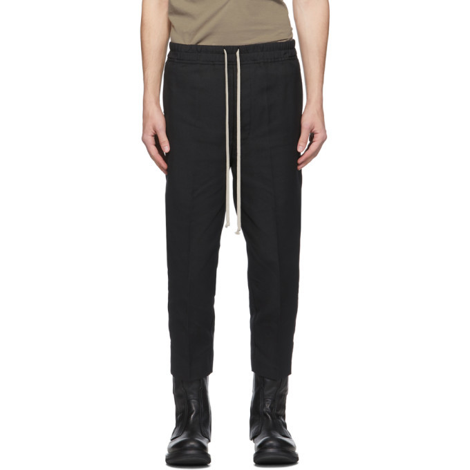 Photo: Rick Owens Black Drawstring Cropped Astaires Trousers