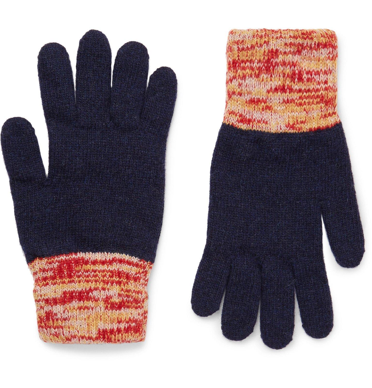 Photo: Oliver Spencer - Varley Mélange-Trimmed Wool-Blend Gloves - Blue