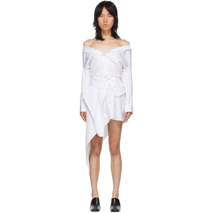 Photo: Alexander Wang White Asymmetric Deconstructed Shirt Dress