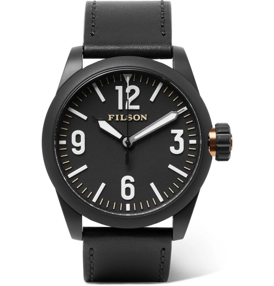 Filson - Field Stainless Steel and Leather Watch - Black