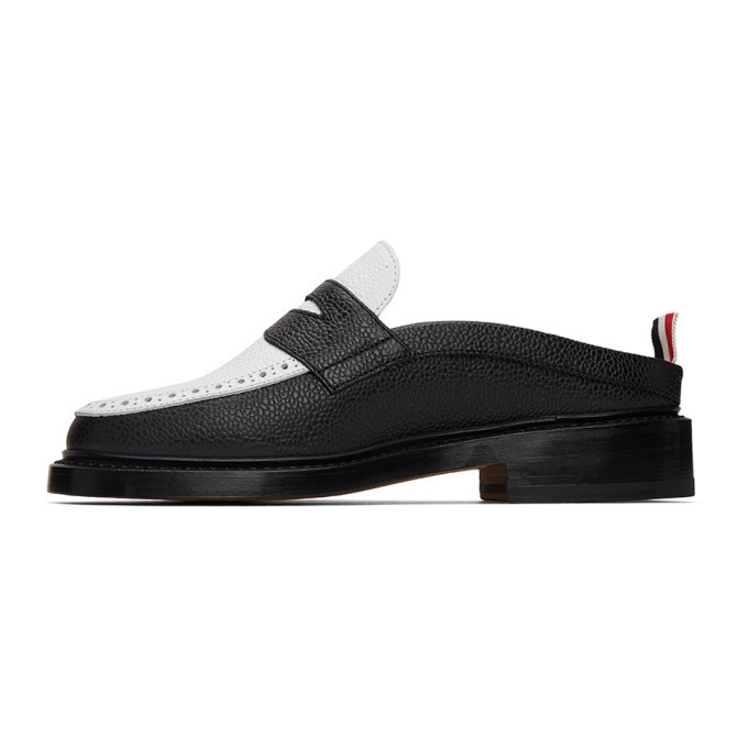 Thom Browne Black and White Penny Loafers
