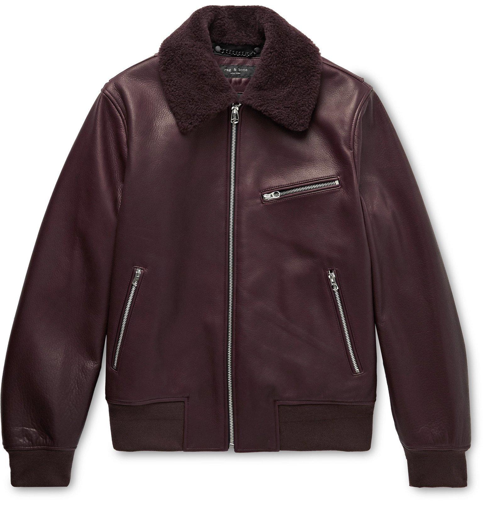 Photo: rag & bone - Shearling-Trimmed Leather Bomber Jacket - Burgundy