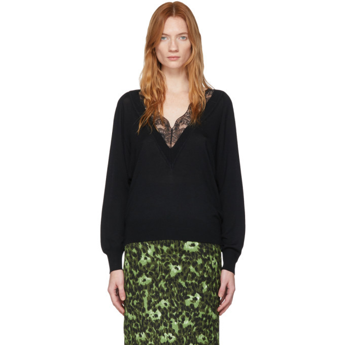Photo: Chloe Black Wool and Silk Lace V-Neck Sweater