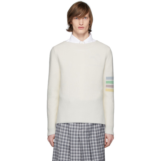 Photo: Thom Browne Off-White Intarsia 4-Bar Sweater