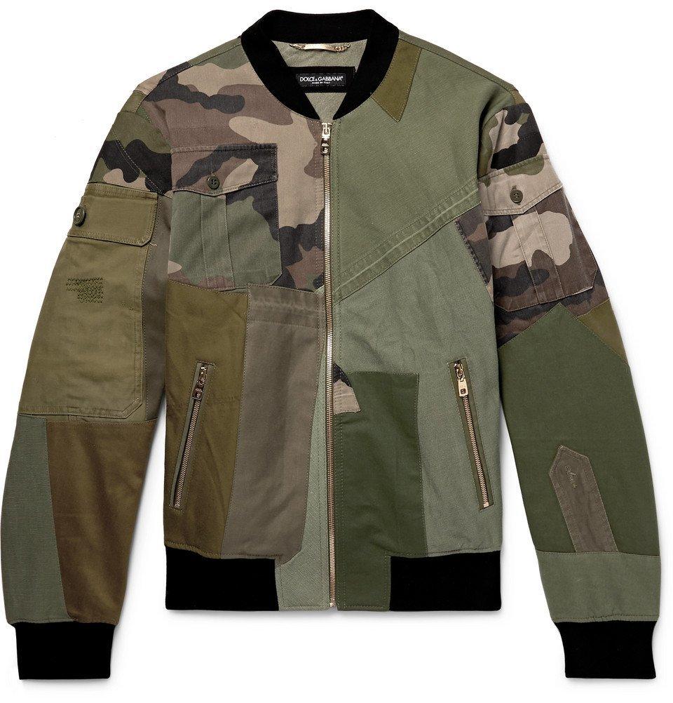 Photo: Dolce & Gabbana - Logo-Appliquéd Patchwork Cotton-Canvas Bomber Jacket - Men - Green